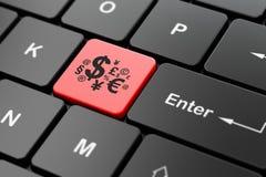 Concept de vente : Symbole de finances sur le fond de clavier d'ordinateur Photographie stock libre de droits
