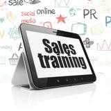 Concept de vente : Tablette avec la formation de ventes sur l'affichage Images stock