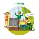 Concept de victoire de loterie de TV illustration stock