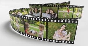 Concept de vie de famille Photos de famille heureuse sur la bande de film 3D a rendu l'illustration illustration de vecteur