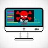 Concept de virus d'ordinateur Attaque de pirate informatique détectée Crâne rouge Photographie stock