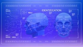 Concept de visage balayant la technologie biométrique de reconnaissance faciale précise bas poly balayage du visage 3D, réalité v illustration de vecteur
