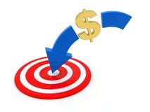 Concept de viser le marché du dollar, rendu 3d illustration de vecteur
