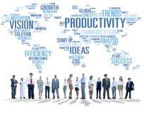 Concept de vision du monde d'affaires de stratégie de mission de productivité Images libres de droits