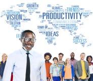 Concept de vision du monde d'affaires de stratégie de mission de productivité Photographie stock libre de droits