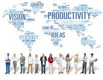 Concept de vision du monde d'affaires de stratégie de mission de productivité Photos stock