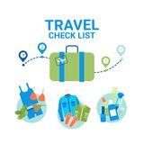 Concept de visite d'offre d'emploi de bannière de calibre d'icônes de liste de contrôle des bagages de planification de voyage illustration de vecteur