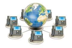Concept de VoIP avec le globe de la terre, concept de télécommunication mondiale 3d Photos stock