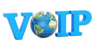 Concept de VoIP avec le globe de la terre, rendu 3D Photo stock
