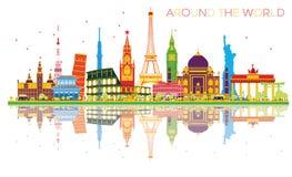 Concept de voyage autour du monde avec le landma international célèbre illustration libre de droits