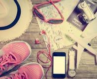 Concept de voyage avec l'accessoire Photos stock