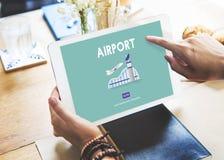 Concept de voyage de destination de vol d'avion d'aéroport images stock