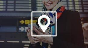 Concept de voyage de Pin Marker Travel Destination Location Photo stock