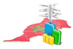Concept de voyage du Maroc Carte marocaine avec les valises et le poteau indicateur Image libre de droits