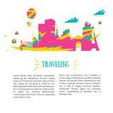 Concept de voyage et fond et emplacements de tourisme Conception colorée Photographie stock