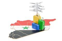 Concept de voyage de la Syrie Carte syrienne avec les valises et le poteau indicateur, 3D illustration de vecteur