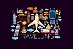 Concept de voyage pour le calibre de web design Images stock