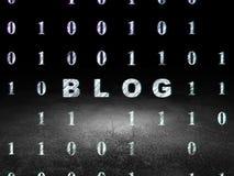 Concept de web design : Blog dans la chambre noire grunge Photo stock