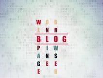 Concept de web design : blog de mot en résolvant des mots croisé Image libre de droits