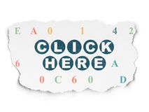 Concept de web design : Cliquez ici sur le papier déchiré illustration stock
