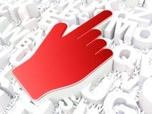 Concept de web design : Curseur de souris sur le fond d'alphabet Images libres de droits