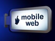 Concept de web design : Curseur mobile de Web et de souris sur le fond de panneau d'affichage Photographie stock libre de droits