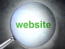 Concept de web design de SEO : Site Web avec le verre optique illustration libre de droits
