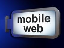 Concept de web design : Web mobile sur le fond de panneau d'affichage Photos libres de droits