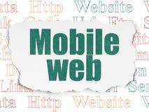 Concept de web design : Web mobile sur le fond de papier déchiré Illustration Libre de Droits
