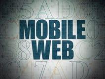 Concept de web design : Web mobile sur le fond de papier de données numériques Photographie stock libre de droits