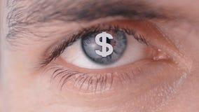 Concept de wens om geld te maken Dollarembleem op de leerling van het menselijke oog stock videobeelden