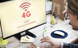 concept de Wifi de technologie de réseau Internet de 4G Digital Image stock