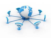 Concept de wifi du monde d'isolement sur le fond blanc rendu 3d Photo stock