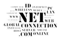 Concept de wolk van het netto en Webâ woord Stock Afbeelding