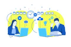Concept of deadline. Man and woman overwork in office. Managers are sitting at computer desk, working and drinking many cups of coffee. Flat design, vector vector illustration