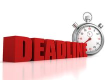 Concept deadline red text with sports stopwatch Stock Photos
