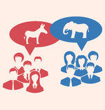 Concept of Debate Republicans and Democrats. Illustration Concept of Debate Republicans and Democrats. Donkey and Elephant as a Symbols Vote of USA. Retro Style vector illustration