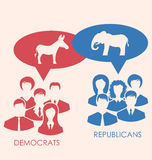 Concept of Debate Republicans and Democrats Stock Images