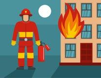 Concept debout de sapeur-pompier, style plat illustration stock