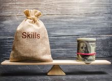 The concept of decent wages of an employee for useful skills. Professionals of the business. Low-quality incompetent courses royalty free stock photos