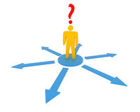 Concept of decision making. 3D rendering of character decision making Royalty Free Stock Photography