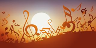 Illustration showing musical notes dancing in front of a sunset. Concept of decoration to illustrate a dynamic musical event, with a multitude of notes of music vector illustration