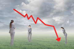 Concept of decrease. Business woman with downward arrow, concept of decrease, down, negative etc Stock Photos