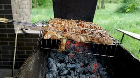 Barbecue grill. Close-up. Sometimes a man turns the meat on the grill. The concept of delicious food and outdoor recreation stock video