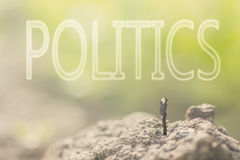 Concept of democracy. With a person stand in the outdoor and looking up the text over the sky in nature background stock images