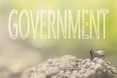 Concept of democracy. With a person stand in the outdoor and looking up the text over the sky in nature background stock photos