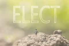 Concept of democracy. With a person stand in the outdoor and looking up the text over the sky in nature background royalty free stock photos