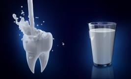 Concept dentaire 3d rendent l'illustration dent propre et sale d'isolement sur le bleu, dégageant le processus de dent illustration stock