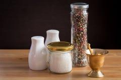Concept des accessoires de sel et de poivre Photographie stock libre de droits
