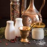 Concept des accessoires de sel et de poivre Photos stock